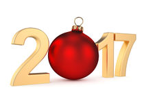 3D rendering 2017 New Year gold digits. With a red christmas ball Royalty Free Stock Photography