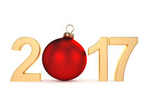 3D rendering 2017 New Year gold digits. With a red christmas ball Royalty Free Stock Photos