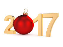 3D rendering 2017 New Year gold digits. With a red christmas ball Stock Photo