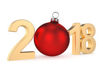 3D rendering 2018 New Year gold digits. With a red christmas ball Stock Images