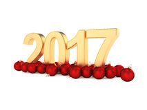3D rendering 2017 New Year gold digits. With a red christmas balls Royalty Free Stock Photo