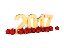 3D rendering 2017 New Year gold digits. With a red christmas balls Stock Photos
