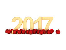 3D rendering 2017 New Year gold digits. With a red christmas balls Royalty Free Stock Photos