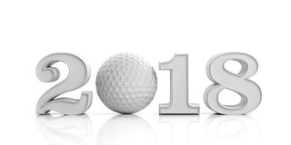 3d rendering new year 2018 with golf ball Stock Photography