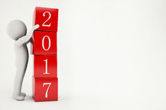 3D Rendering new year 2017 Royalty Free Stock Photos