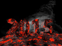 3d rendering of new year 2015. Made from lava royalty free illustration