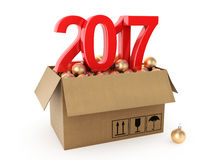 3D rendering 2017 New Year red digits. With a cardboard box of golden Christmas balls Royalty Free Stock Photos