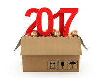 3D rendering 2017 New Year red digits. With a cardboard box of golden Christmas balls Royalty Free Stock Photography