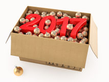 3D rendering 2017 New Year red digits. With a cardboard box of golden Christmas balls Stock Images
