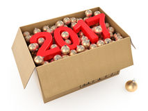 3D rendering 2017 New Year red digits. With a cardboard box of golden Christmas balls Royalty Free Stock Photo