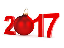 3D rendering 2017 New Year red digits. With a red christmas ball Royalty Free Stock Image