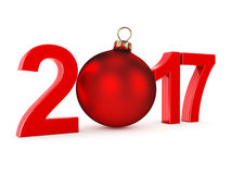 3D rendering 2017 New Year red digits. With a red christmas ball Royalty Free Stock Photos