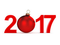 3D rendering 2017 New Year red digits. With a red christmas ball Stock Images