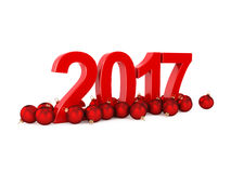 3D rendering 2017 New Year red digits. With a red christmas balls Royalty Free Stock Photos