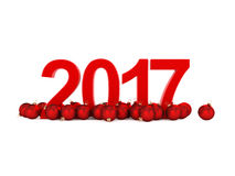 3D rendering 2017 New Year red digits. With a red christmas balls Stock Images