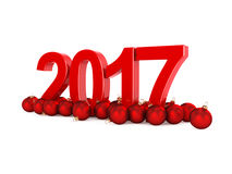 3D rendering 2017 New Year red digits. With a red christmas balls Stock Photography