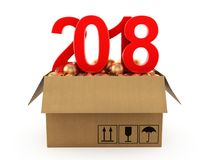 3D rendering 2018 New Year red digits. With a cardboard box of golden Christmas balls Royalty Free Stock Images
