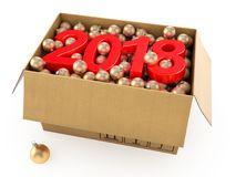 3D rendering 2018 New Year red digits Stock Images
