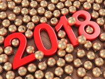 3D rendering 2018 New Year red digits. And gold christmas balls lying on a wooden surface Royalty Free Stock Image