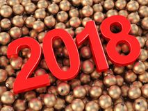 3D rendering 2018 New Year red digits. And gold christmas balls lying on a wooden surface Stock Photo