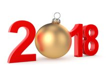 3D rendering 2018 New Year red digits. With a golden christmas ball Royalty Free Stock Image