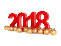 3D rendering 2018 New Year red digits. With a golden christmas balls Stock Photography