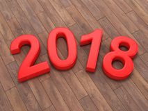 3D rendering 2018 New Year red digits Royalty Free Stock Photo