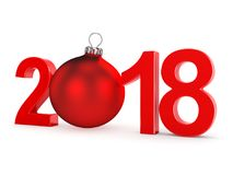 3D rendering 2018 New Year red digits. With a red christmas ball Royalty Free Stock Photo
