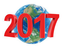 3D rendering 2017 New Year red digits. With Earth Royalty Free Stock Images