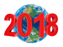 3D rendering 2018 New Year red digits Stock Photo