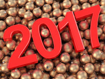 3D rendering 2017 New Year red digits. And gold christmas balls lying on a wooden surface Royalty Free Stock Images