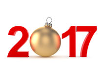 3D rendering 2017 New Year red digits. With a golden christmas ball Stock Image