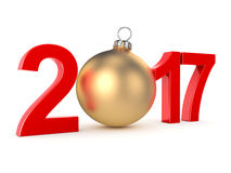 3D rendering 2017 New Year red digits. With a golden christmas ball Royalty Free Stock Photography