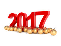 3D rendering 2017 New Year red digits. With a golden christmas balls Royalty Free Stock Photography