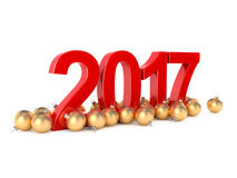 3D rendering 2017 New Year red digits. With a golden christmas balls Stock Image