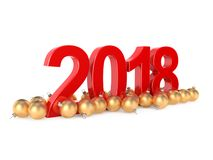 3D rendering 2018 New Year red digits. With a golden christmas balls Stock Photos