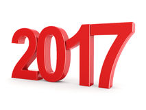 3D rendering 2017 New Year red digits. Isolated on white background Stock Photos