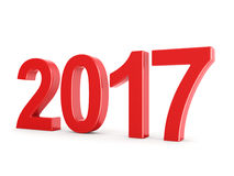 3D rendering 2017 New Year red digits. Isolated on white background Royalty Free Stock Image