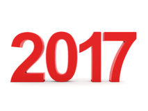 3D rendering 2017 New Year red digits. Isolated on white background Royalty Free Stock Photo