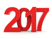 3D rendering 2017 New Year red digits. Isolated on white background Stock Photography