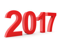 3D rendering 2017 New Year red digits. Isolated on white background Stock Images