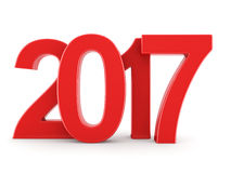 3D rendering 2017 New Year red digits. Isolated on white background Stock Image