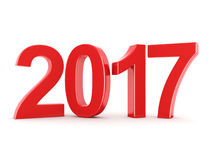 3D rendering 2017 New Year red digits. Isolated on white background Royalty Free Stock Images