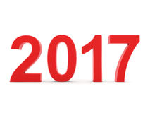 3D rendering 2017 New Year red digits. Isolated on white background Royalty Free Stock Photos