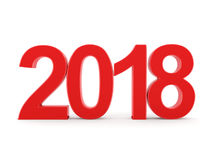 3D rendering 2018 New Year red digits Royalty Free Stock Image