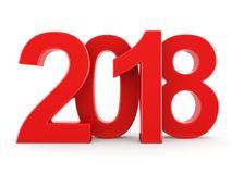 3D rendering 2018 New Year red digits Royalty Free Stock Images