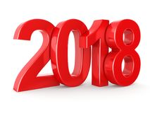 3D rendering 2018 New Year red digits. Isolated on white background Stock Images