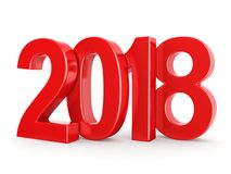 3D rendering 2018 New Year red digits. Isolated on white background Stock Photo