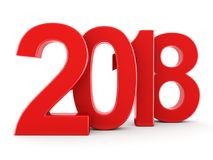 3D rendering 2018 New Year red digits. Isolated on white background Stock Photography