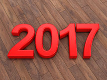 3D rendering 2017 New Year red digits. Lying on a wooden surface Royalty Free Stock Photo